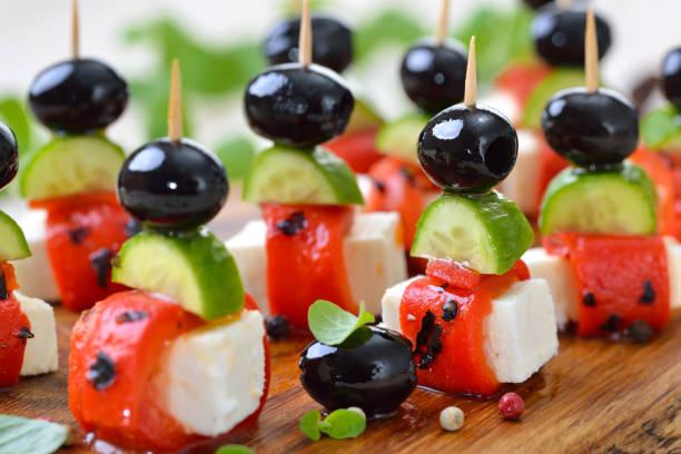 Griechischefingerfood mit Feta-Käse – Foto