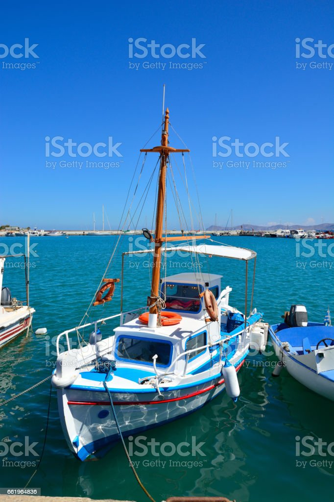 Greek fishing boat in Sitia. Port of Sitia, Crete. royalty-free stock photo