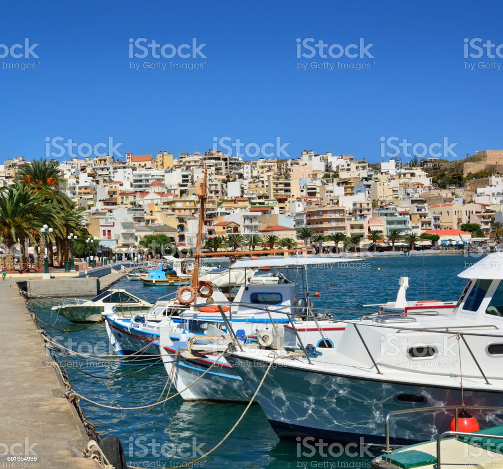 Greek fishing boats in Sitia. Port of Sitia, Crete. royalty-free stock photo
