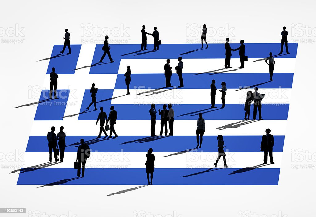 Greek flag and a group of business people stock photo