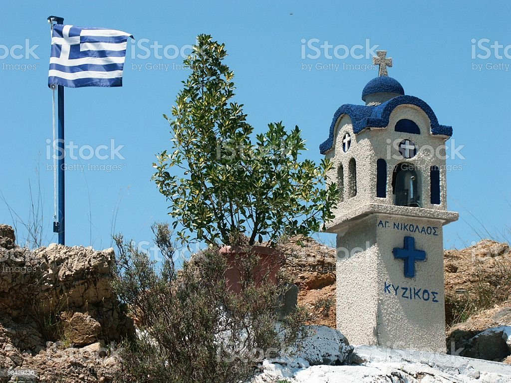 Greek flag and chapel royalty-free stock photo