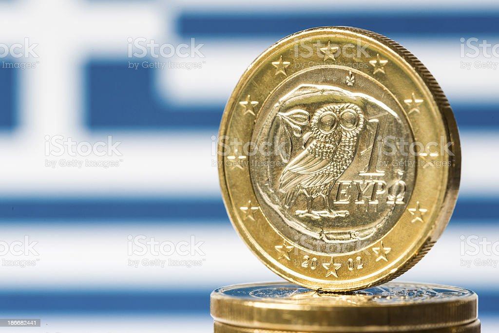 Greek Flag and Euro stock photo