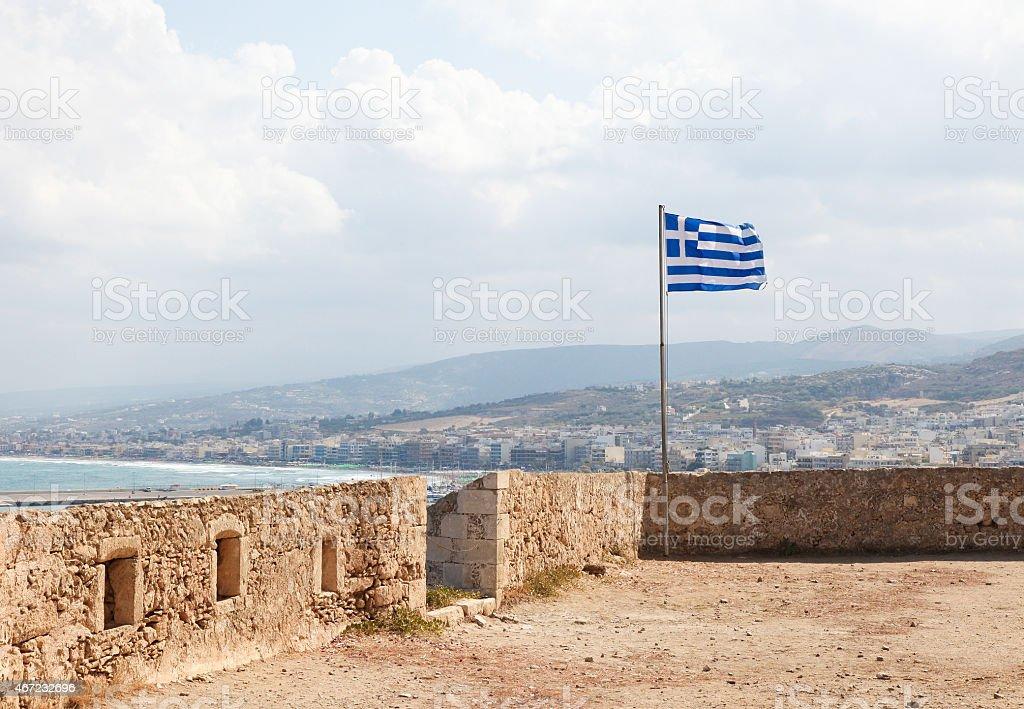 Greek Flag at the Venetian Fortezza in Rethymno, Crete stock photo