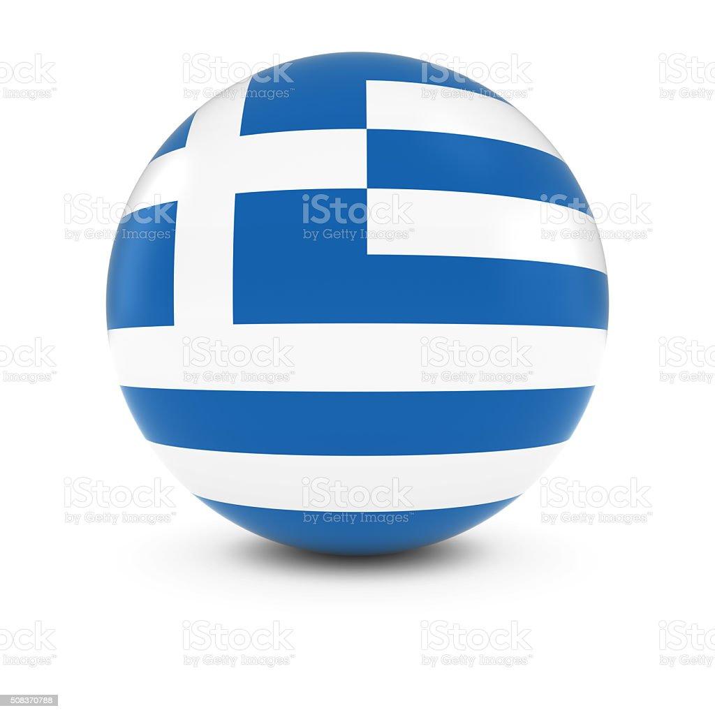 Bandera griega Ball-bandera de Grecia en materia de aislados - foto de stock