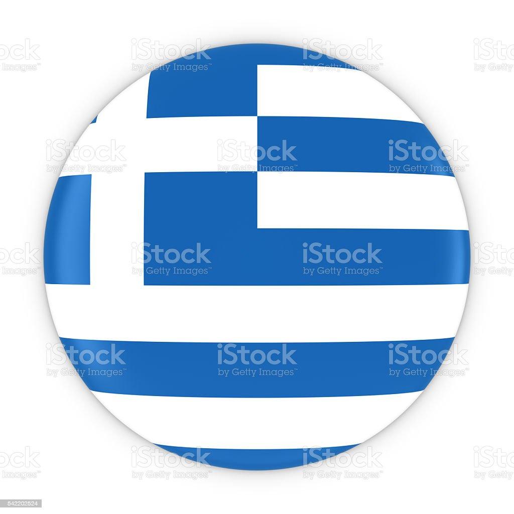 Greek Flag Button - Flag of Greece Badge 3D Illustration stock photo