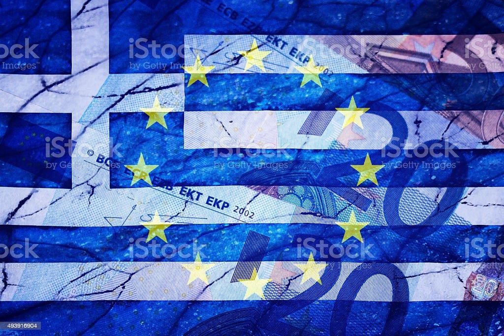 Greek flag, Eu flag, Euros and cracks stock photo