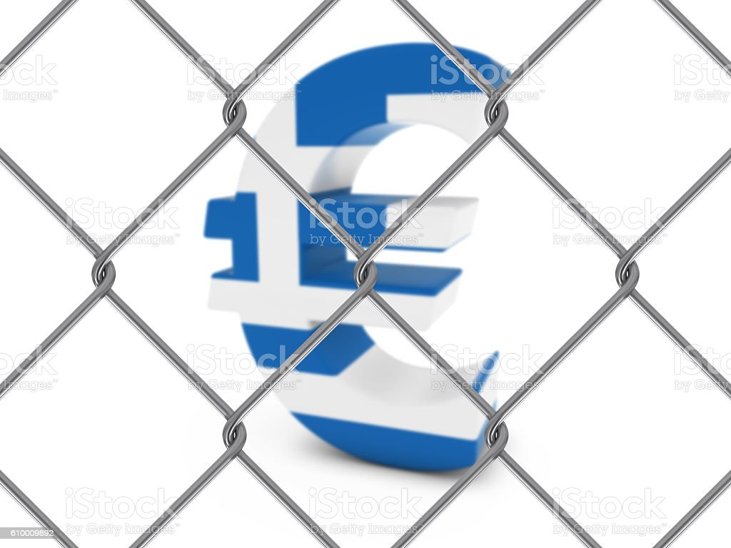 Greek Flag Euro Symbol Behind Chain Link Fence stock photo