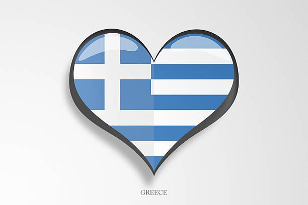 Greek Flag Heart Shape stock photo