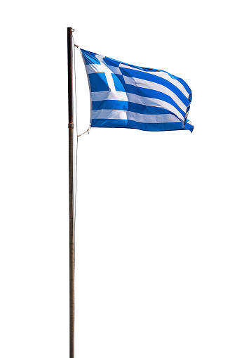 Greek flag isolated on white background with clipping path