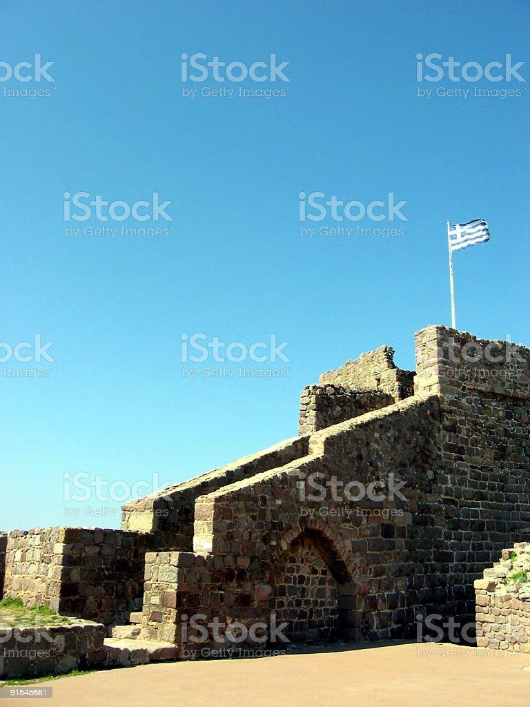 Greek Flag On Castle royalty-free stock photo