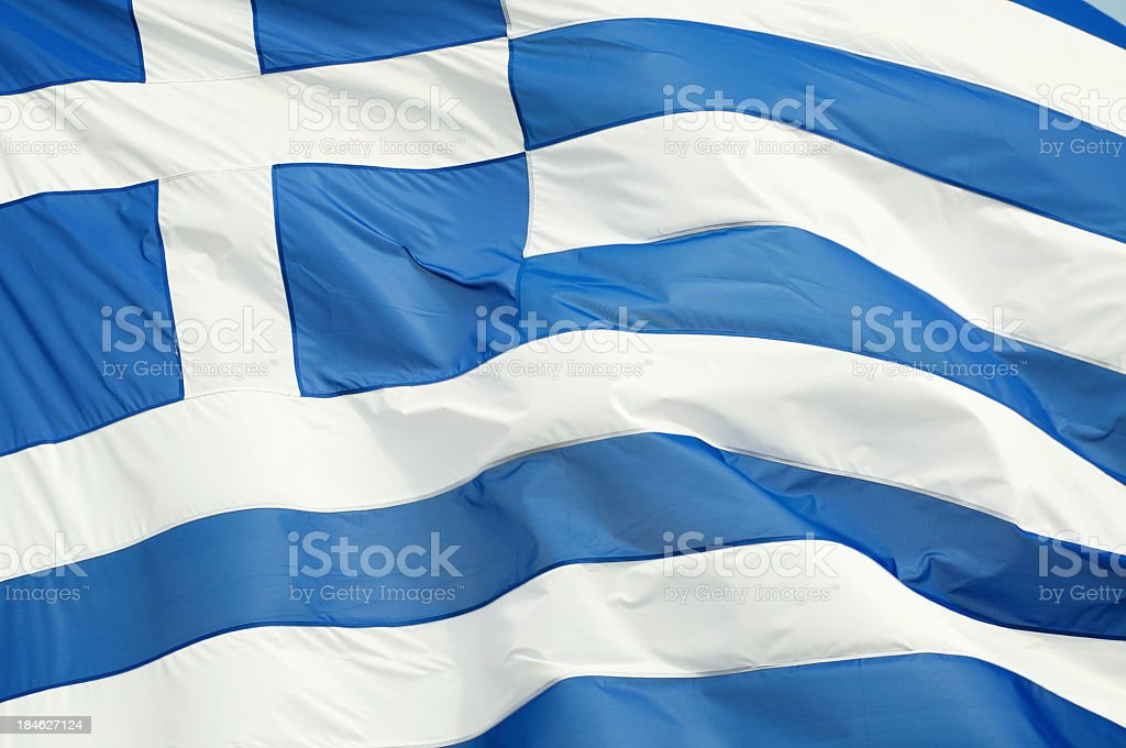 Greek Flag Waving Outdoors Full Frame Horizontal Close-Up stock photo