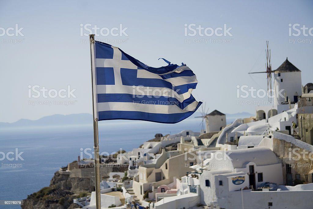 Greek flag with windmill stock photo