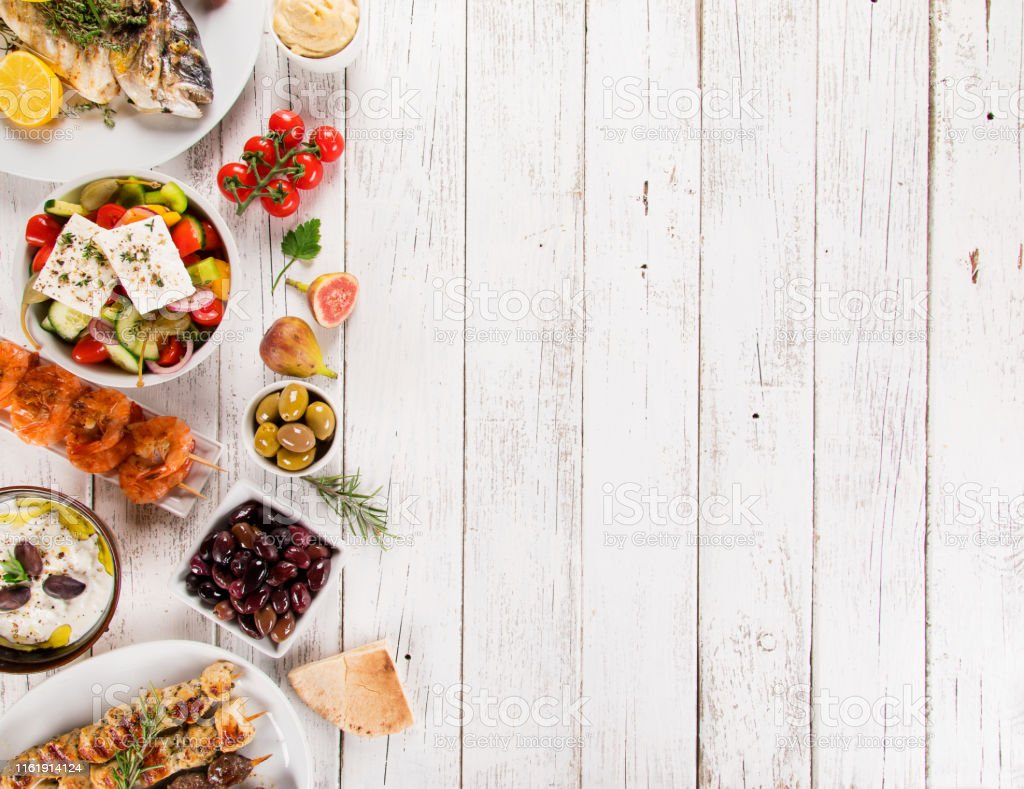 Greek food background. Traditional different greek dishes , top view....