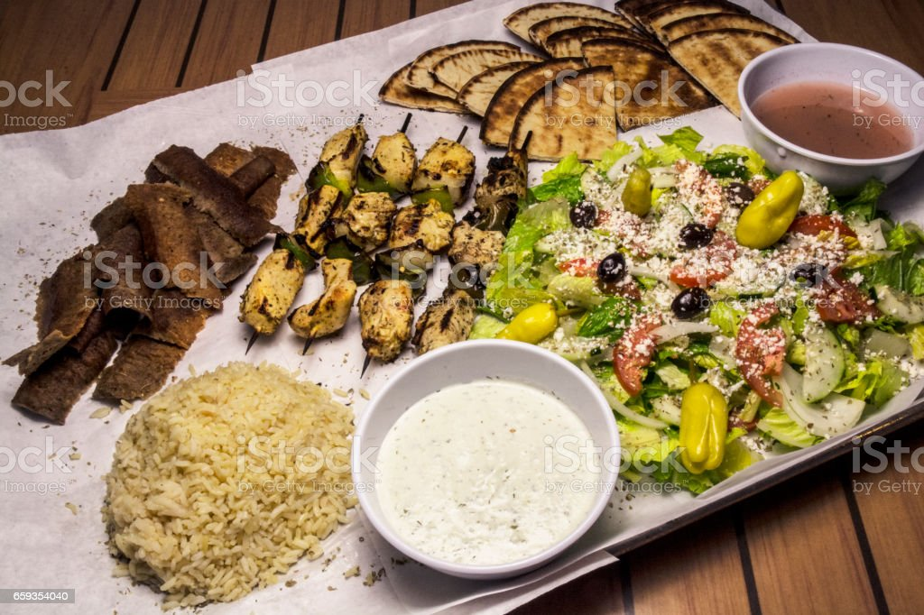 Greek Food Buffet Meal stock photo