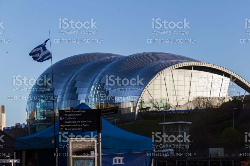 Greek food stall with Greek flag in front of the Sage Gateshead concert hall at Newcastle Quayside stock photo