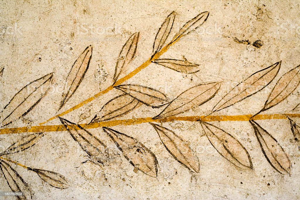 Greek Fresco of Olive Leaves stock photo