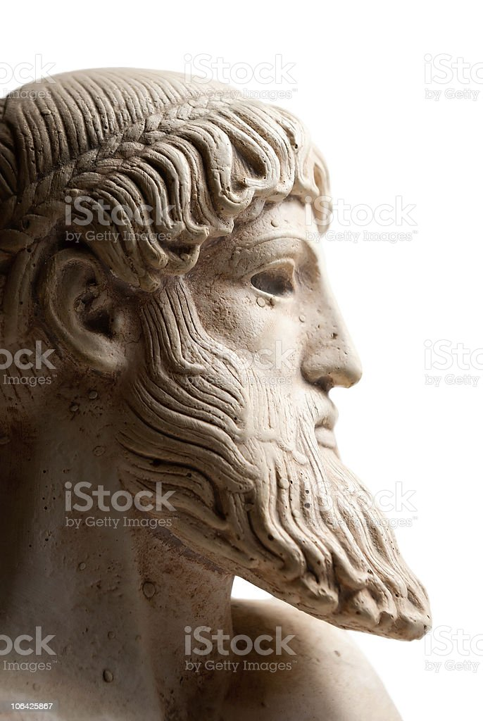 Greek god in profile horizontal stock photo