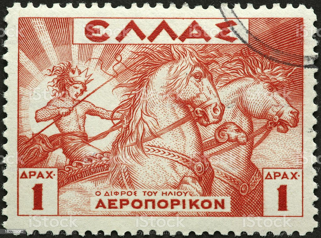 Greek god on a chariot stock photo
