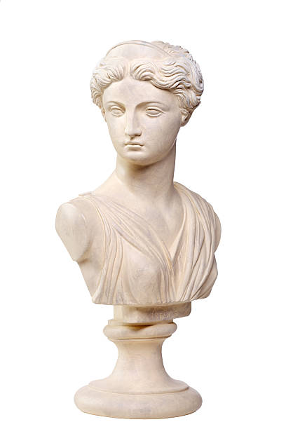 greek goddess artemis - stone bust copy - sculptuur stockfoto's en -beelden