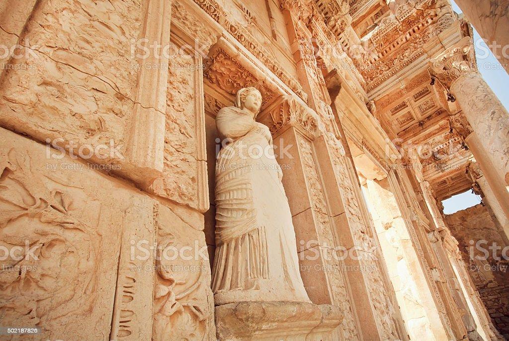 Greek goddess at entrance of historical Ephesus city stock photo