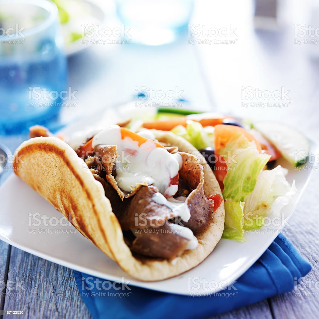 greek gyro platter stock photo