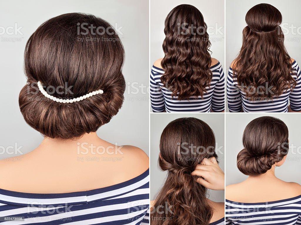 Griechische Frisur Tutorial Stockfoto Und Mehr Bilder Von