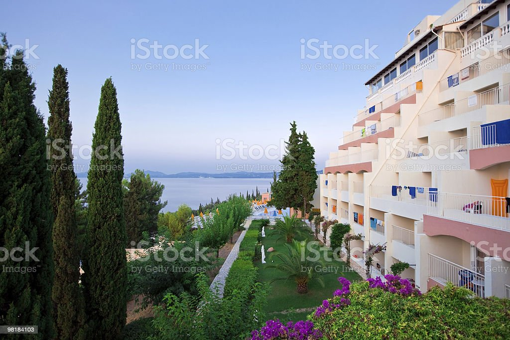 Greek hotel at morning royalty-free stock photo