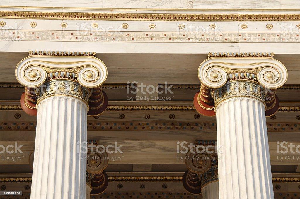 Greek Ionic columns stock photo