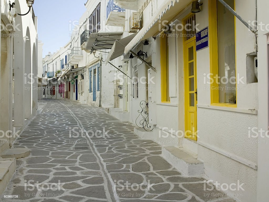 Greek island alley royalty-free stock photo