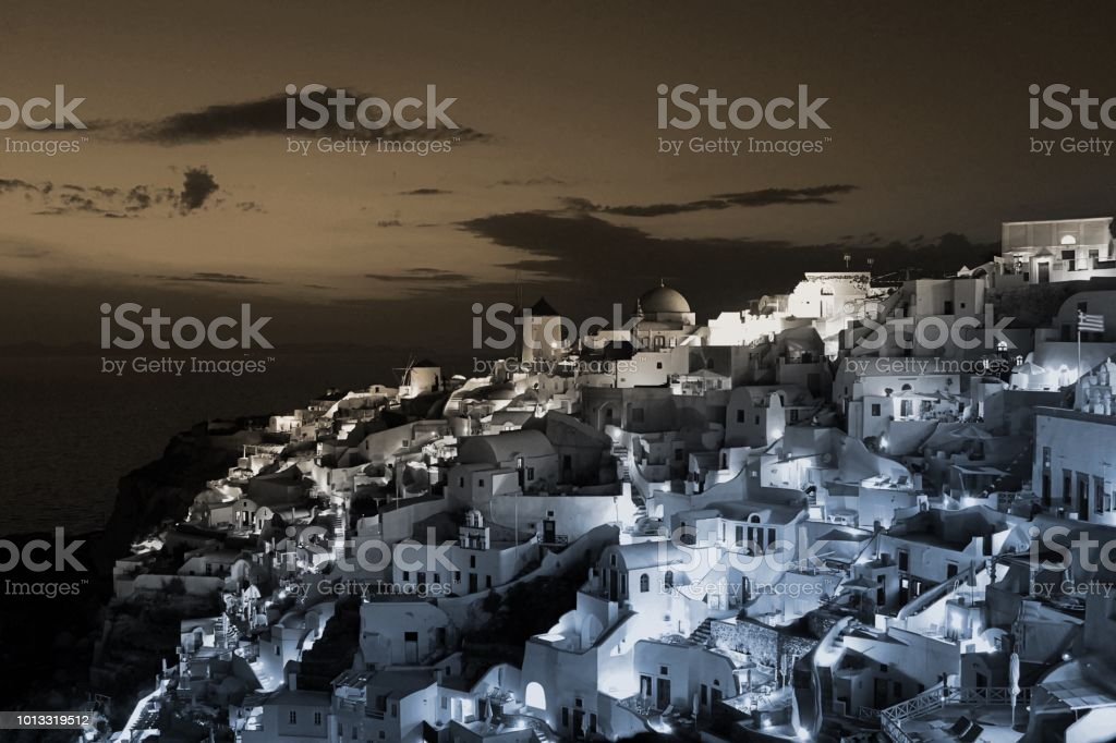 Greek Island at Dusk in the town of Oia, Santorini, Greece stock photo