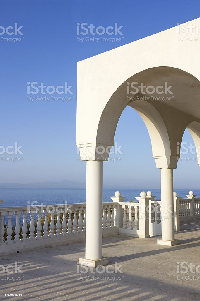 Greek island blue and white stock photo