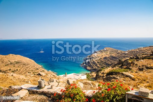 A view over the rugged coastline of Ios, Greece