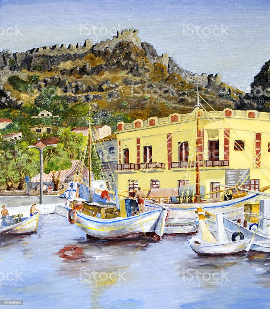 Greek island port stock photo