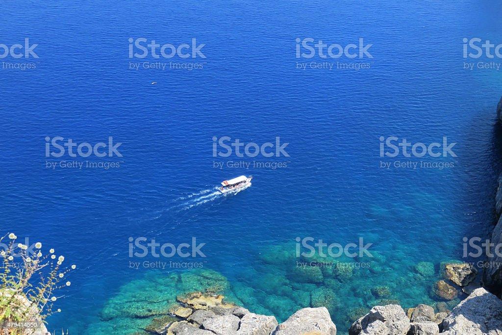 Greek Island Scene Parga Harbor stock photo