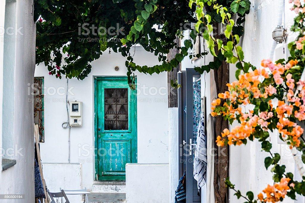 Greek island village architecture royaltyfri bildbanksbilder