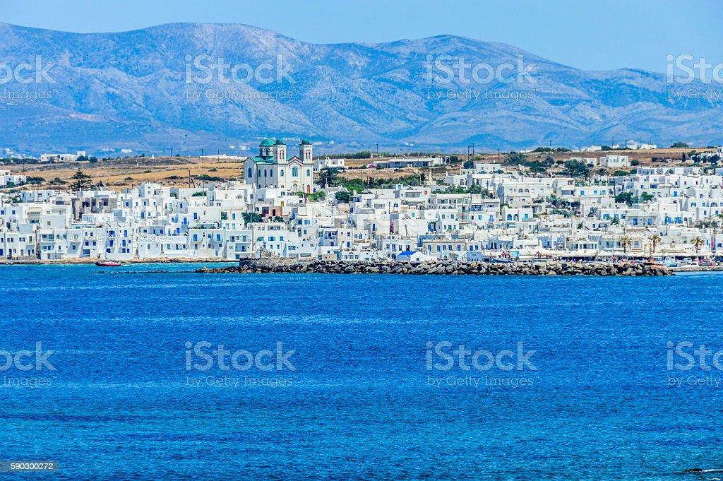 Greek Islands - Deep blue water and tiny Orthodox churches royaltyfri bildbanksbilder