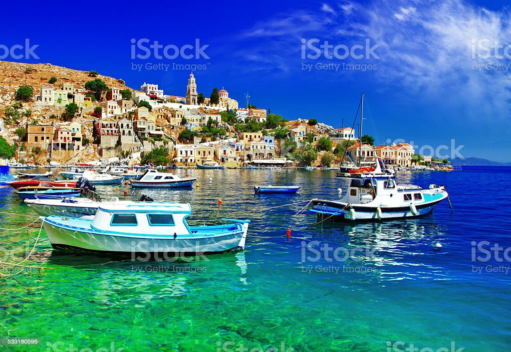 greek islands Symi stock photo