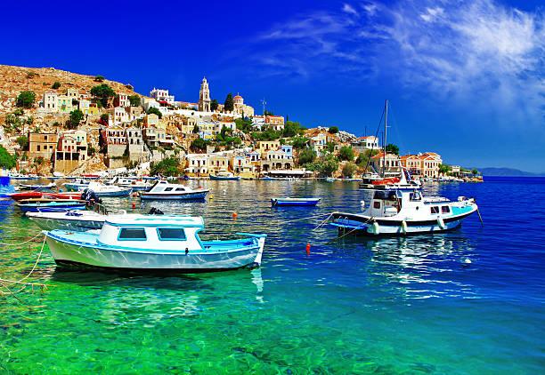 greek islands symi - grekiska övärlden bildbanksfoton och bilder