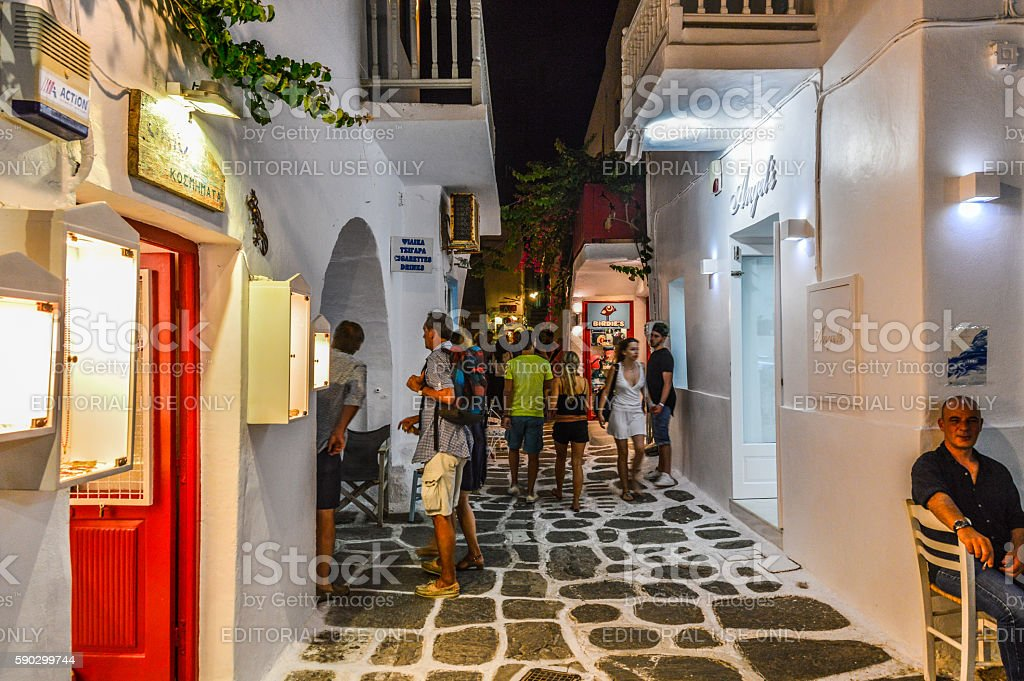 Greek Isles at night - Town of Naoussa Стоковые фото Стоковая фотография