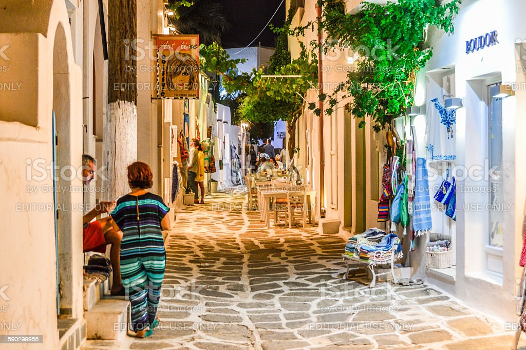 Greek Isles at night - Town of Naoussa royaltyfri bildbanksbilder