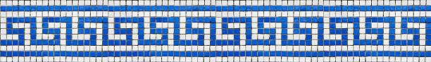 Greek key pattern mosaic Photo of real mosaic depicting the classical Greek key pattern. Will tile seamlessly end-to-end. classical greek stock pictures, royalty-free photos & images