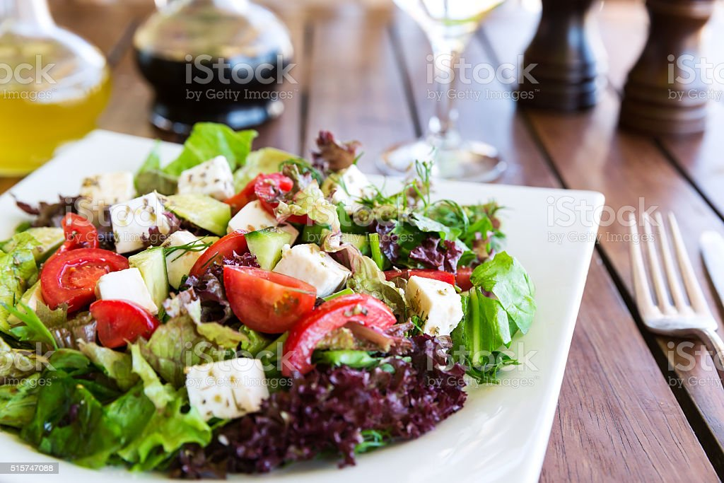 Greek Mediterranean salad stock photo