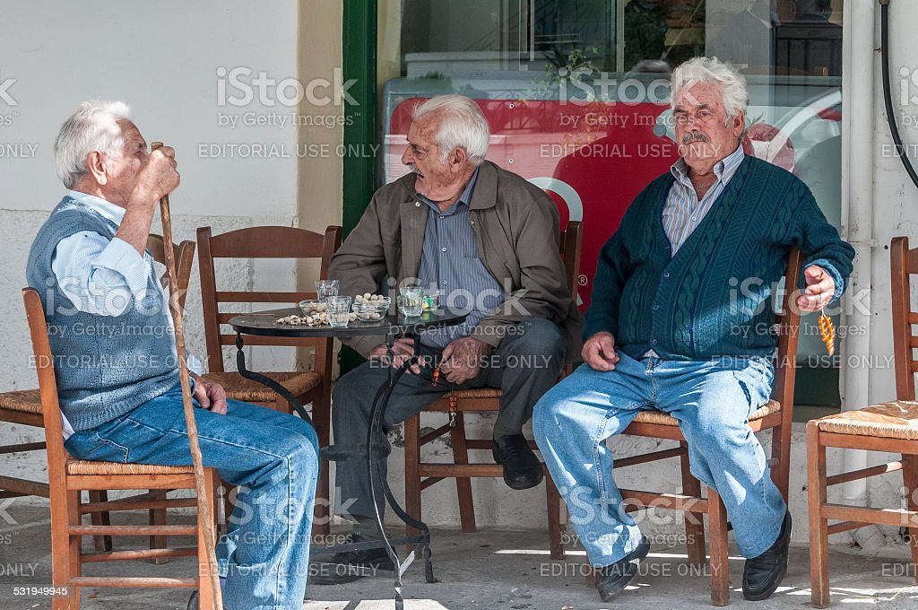 Greek Men at Cafe Table, Naxos, Greece​​​ foto