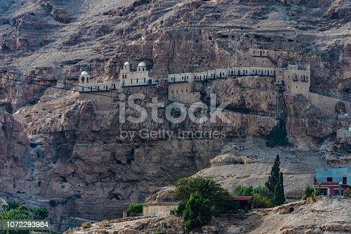 Mount and Greek monastery of temptation near Jericho city 350 meters below sea level, under the custody of Greek Orthodox Church of Jerusalem. Jordan Valley West Bank Palestinian