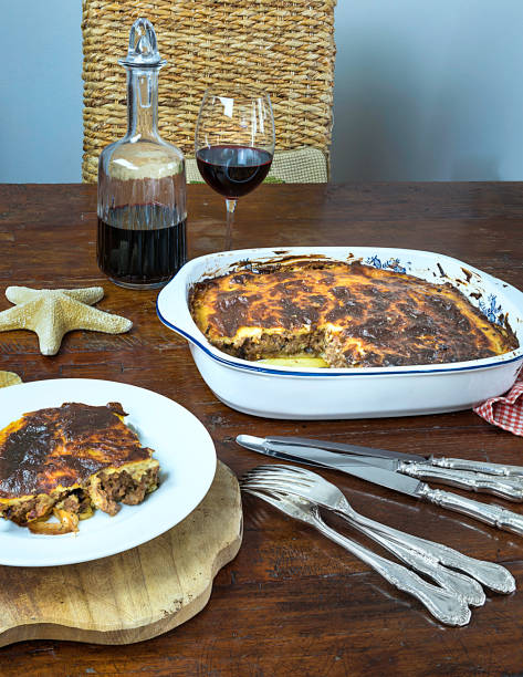 Greek Moussaka . Isolated Image. stock photo