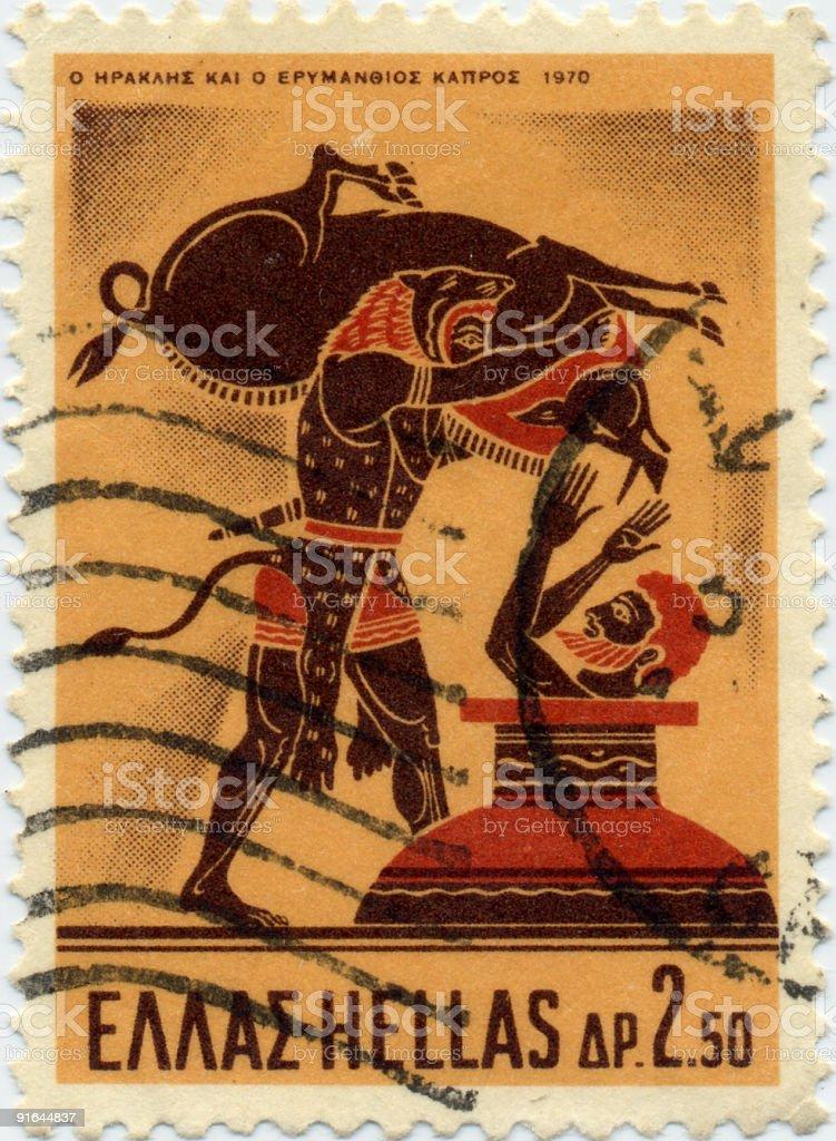Greek Mythology Stamp - Hercules with Erymanthian Boar royalty-free stock photo
