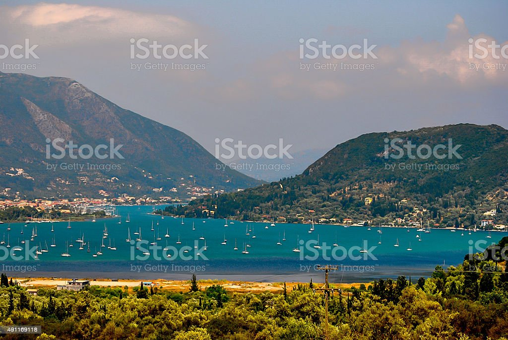 Greek natural harbor stock photo