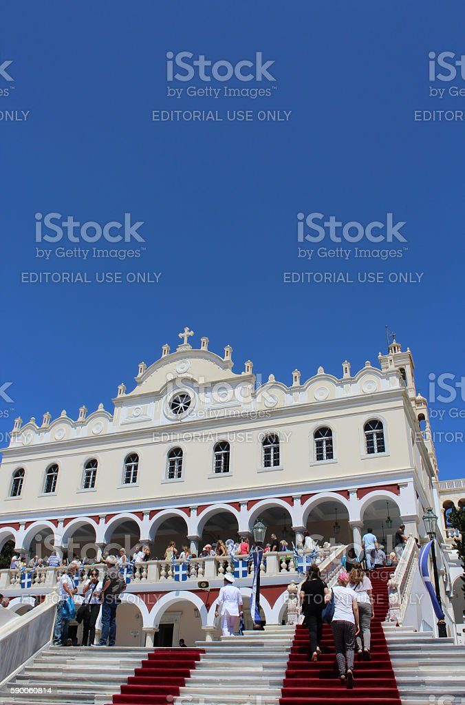 Greek Orthodox Assumption Day Pilgrimage in Tinos stock photo