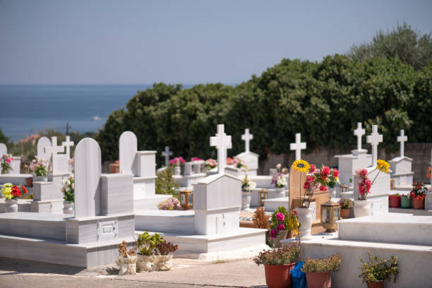 Greek Orthodox cemetery on Chios Island stock photo