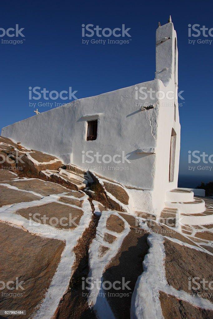 Greek Orthodox Chapel, Ios, Creece stock photo